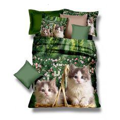 Zelené posteľné obliečky s malými mačkami v prírode - domtextilu.
