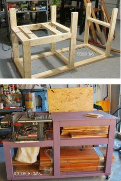 #DIY table saw workbench for your garage. #Storage #garage @toolboxdivas
