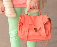 coral bag! i like the mint behind also, but not a good color for pants