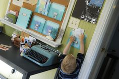Letter writing centre!  Great idea for when we have a little more space, but I might think of a way to make this an activity we get out sometimes in the meantime!  Sorry - I tried to pin a non-child photo but they weren't available.