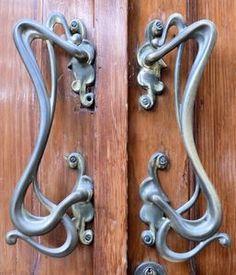 art nouveau door handles. I love these...