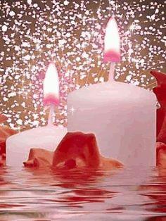 Animated Gif by JoanBlalock Shell Candles, Pink Candles, Best Candles, Candels, Candle Lanterns, Candle Jars, Beautiful Gifts, Beautiful Flowers, Bougie Rose