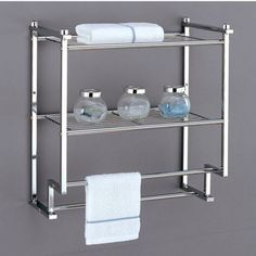 Shelves - Metro Collection 2 Tier Wall Mounting Rack with Towel Bars by Neu Home | KitchenSource.com