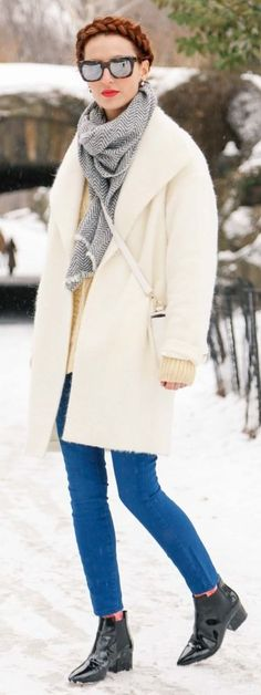 White On Blue Winter Outfit women fashion outfit clothing stylish apparel @roressclothes closet ideas