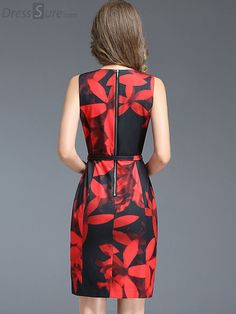 Buy Chic O-Neck Sleeveless Print Bodycon Dress with High Quality and Lovely Service at DressSure.com