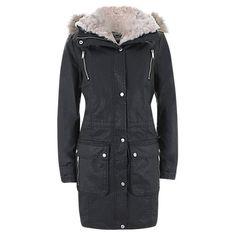 Buy Mint Velvet Faux Fur Quilt Lined Waxed Parka Online at johnlewis.com