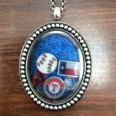 Texas Rangers Themed Floating Charm Locket on Etsy, $3.00