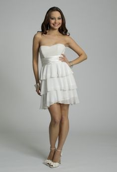 White Dresses - Strapless Tiered Prom Dress from Camille La Vie and Group USA