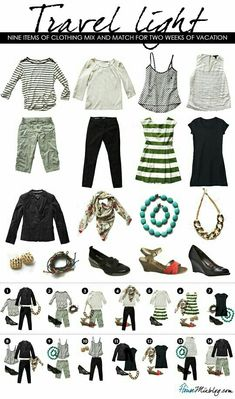 Travel Light - Nine items of clothing mix and match for two weeks of vacation