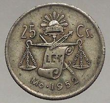 1952 MEXICO  Silver 25 Centavos Eagle Liberty Cap Scales Mexican Coin i56721 https://trustedmedievalcoins.wordpress.com/2016/07/15/1952-mexico-silver-25-centavos-eagle-liberty-cap-scales-mexican-coin-i56721/