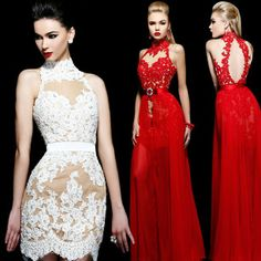 special occasion High Neck Lace Keyhole Back  Removable Skirt Prom Dresses Evening New Fashion 2013 US $169.00