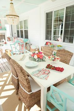 light blue and coral interior design - Google Search House Of Turquoise, Outdoor Rooms, Outdoor Dining, Dining Area, Dining Room, Dining Table, Sunroom Dining, Outdoor Lantern, Dining Chairs