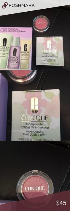 Clinique Powder Foundation + blush and extra bonus NWB Clinique foundation powder ... color is Matte Neutral please read carefully. I opened this I never put sponge on my face, but I did use it to look at the color better. Never used it. Just tapped sponge on foundation. Never ever put on my face. Not my color. Little blemish (look at pics) and Clinique blush that is new never used, no box. Color is pink pop. And a bonus box, look at pics. $60 worth of product. Clinique Makeup Face Powder