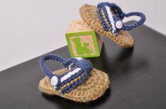 Boys Baby Beach Sandals Flip Flops Blue by KrabbyKrochet on Etsy, $20.00