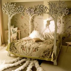 Teens Bedroom Ideas For A Cozy Glamorous Girls Bedroom With Forest Theme Floral Pattern Blanket White Pillow Wooden Chair Desk In Corner Extraordinary Bedroom Designs for Young Women