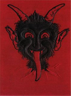 Krampus Black Devil Head on Red Background Repro Postcard #3