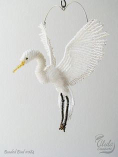 Egret Suncatcher, Egret Ornament, Bird Necklace, Hanging Decor, Bird Lover Gift…