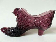 Purple Fenton Glass Shoe