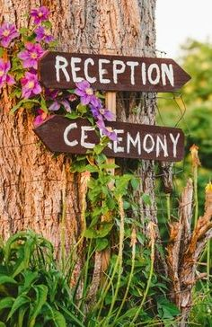 Rustic wedding sign for an outdoor wedding (Photo by Steven & Lily Photography)