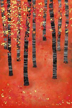 Birches Art Print by Squirrell