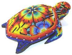 Sea Turtle ~ 5 Inch Huichol Bead Art
