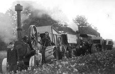 Steam engine tractors with threshing machines, Latvia, 1930.-ies. | Flickr - Photo Sharing!