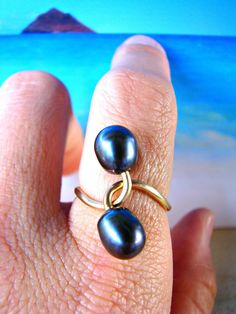 Pearl Gold Ring Twisted Gold Ring Twisted by PukoaPacificPearls