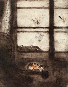 Winter Still Life - Bohuslav Reynek , 1950 Czech, drypoint with monotype, paper, 594 x 840 mm Be Still, Still Life, Kitten, Bible, Paper, Cats, Painting, Artists, Kittens