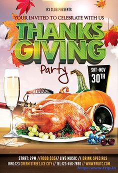 80+ Best Thanksgiving Party Flyers Print Templates 2016 ...