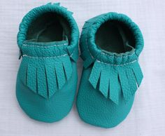 Teal Leather Baby Moccasins by SophieKateMoccasins on Etsy, $30.00. Love this color!