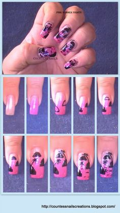 VOTE FOR YOUR FAVORITE until 09/30/2012!  www.SimpleNailArtTips.com   Pink Summer Nights Nail Art Tutorial Entry