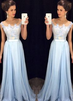 Lavender 2016 Prom Dresses Lace Applique Beads 2017 Formal Long Bridesmaid Dresses A Line Crew Neck Zip Back Chiffon Party Gowns Light Blue Prom Dresses Long Prom Dresses 2015 From Kissbridal001, $112.29| Dhgate.Com