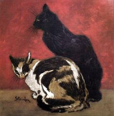 A painting of two cats. High quality vintage art reproduction by Buyenlarge. One of many rare and wonderful images brought forward in time. I hope they bring you pleasure each and every time you look Friday Cat, Here Kitty Kitty, Illustrations, Pretty Cats, Art Reproductions, I Love Cats, Cat Art, Vintage Art, Cats And Kittens