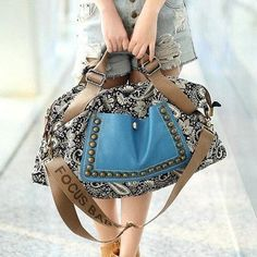 #women's tote bag with rivets and splice design