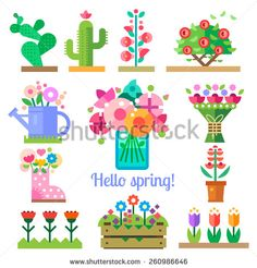 Flat Flower Set Stock Photos, Images, & Pictures | Shutterstock