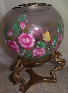 Vintage Hand Painted Crackle Art Glass Candy Bowl Decorative Brass Base Lid Rose #unknown