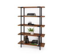 BDI PHASE 5130 black steel framed designer tall freestanding bookcase