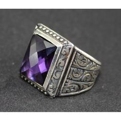 Sterling Silver 925 men ring ,ethnic design with amethyst ct. stone .
