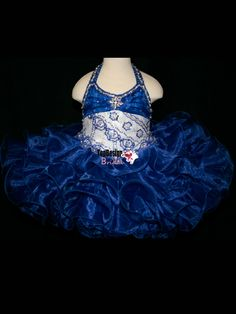 NEW WHITE AND ROYAL NATIONAL LEVEL BABY PAGEANT GOWN CUPCAKE BIRTHDAY DRESS BR1076 WHOLESALE FREE SHIPPING