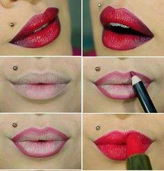 I would totally wear lipstick if i could do this , Lip Contouring, Makeup Application, Beauty Hacks, Beauty Tips, Hair Beauty, Make Up, Lipstick, Beautiful, Lush
