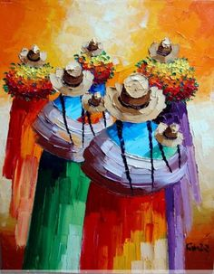 Mexican Artwork, Mexican Paintings, Mexican Folk Art, Colorful Paintings, Arte Latina, Peruvian Art, Latino Art, Oil Pastel Art, Small Canvas Art
