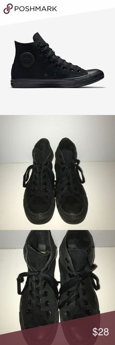 Black High Top Converse (Unisex) Unisex all black high top converse. Only worn about 5 times and still in pretty good condition. Easy to clean and hardly gets dirty. Converse Shoes Sneakers