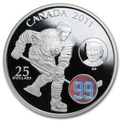 2011 1 oz Silver Canadian $25 - Wayne & Walter Gretzky W/Hologram