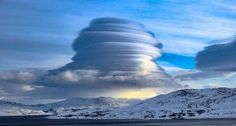 Absolutely stunning shot of multilayered huge lenticular cloud over Kvalsund in Norway - February 2016 Photo by Bjørn Hansen
