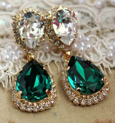 Emerald+chandelier+earring++14+k+plated+gold++earrings+by+iloniti,+$85.00