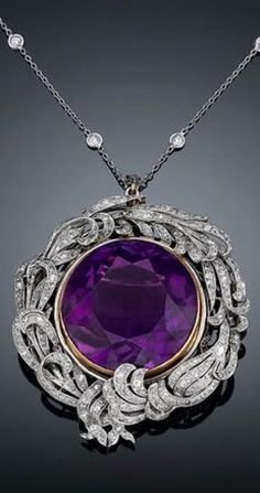A rare 39.29-carat Siberian amethyst takes center stage in this Belle epoque pendant brooch