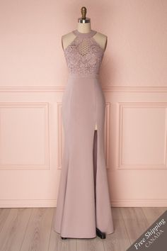 Haley Moon Grey Chiffon Gown with Plunging Neckline Grad Dresses, Cute Dresses, Evening Dresses, Bridesmaid Dresses, Casual Dresses, Formal Dresses, Mermaid Gown, Chiffon Maxi Dress, Lace Bodice