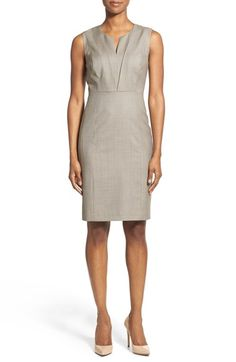 Classiques Entier® Pleat Detail Superfine Wool Sheath Dress available at #Nordstrom