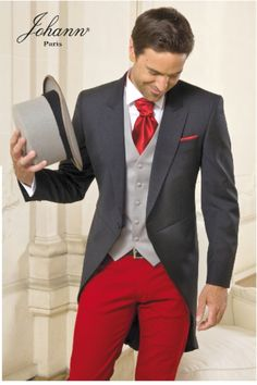 Gray and red suit Wedding Jacket, Wedding Suits, Wedding Groom, Wedding Ceremony, Wedding Dress, Dress Suits, Men Dress, Parisian Wedding Theme, Groom Tuxedo