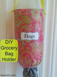 This DIY Grocery Bag Holder is made from a 2 liter bottle and holds about 7 plastic bags. Just takes a few simple supplies that you probably already have!